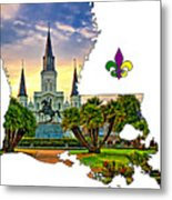 Louisiana Map - St Louis Cathedral Metal Print