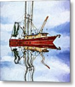 Louisiana Shrimp Boat 4 - Impasto Metal Print