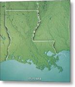 Louisiana State Usa 3d Render Topographic Map Border Metal Print