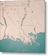 Louisiana State Usa 3d Render Topographic Map Neutral Border Metal Print