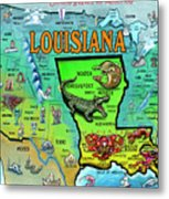 Louisiana Usa Cartoon Map Metal Print