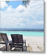 Lounge Chairs At The Beach In Maldives Metal Print