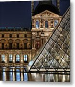 Louvre By Night II Metal Print