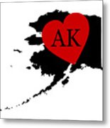 Love Alaska Black Metal Print