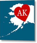 Love Alaska White Metal Print