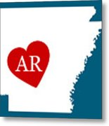 Love Arkansas White Metal Print