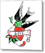 Love Bird Tattoo Metal Print
