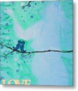 Love Birds In Blue Maternity Metal Print