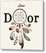 Love Dior Watercolour Dreamcatcher Metal Print
