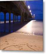 Love Heart In The Sand At Boscombe Pier Metal Print