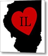 Love Illinois Black Metal Print