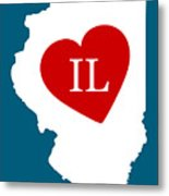 Love Illinois White Metal Print