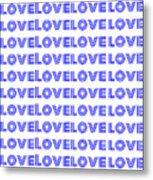 Love In Blue Neon Metal Print