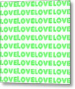 Love In Green Neon Metal Print