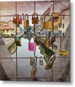 Love Lock Triangle At Naviglo Grande Milan Italy  Metal Print