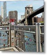 Love Locks In Brooklyn New York Metal Print