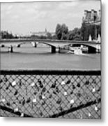 Love Locks Over The Seine Metal Print