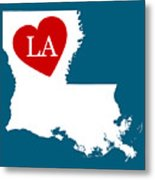 Love Louisiana White Metal Print