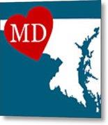Love Maryland White Metal Print