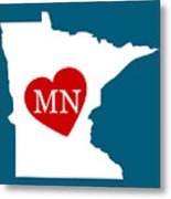 Love Minnesota White Metal Print