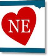 Love Nebraska White Metal Print