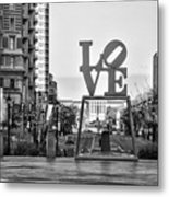 Love On The Parkway In Black And White Metal Print