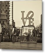 Love On The Parkway In Sepia Metal Print