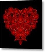 Love Red Floral Heart Metal Print