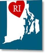 Love Rhode Island White Metal Print