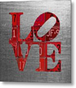 Love Sign Philadelphia Recycled Red Vintage License Plates On Aluminum Sheet Metal Print