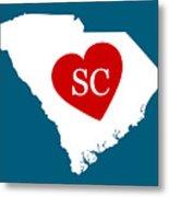 Love South Carolina White Metal Print