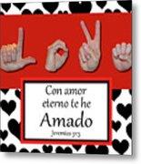 Love Spanish Bw Graphic Metal Print