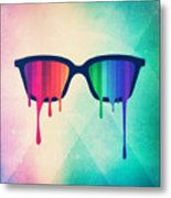 Love Wins Rainbow - Spectrum Pride Hipster Nerd Glasses Metal Print