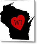Love Wisconsin Black Metal Print