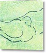 Lovebirds On Green Metal Print