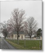 Lovely Day At An Amish Schoolhouse Metal Print