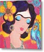 Lovely Frida And Little Blue Parrot Metal Print