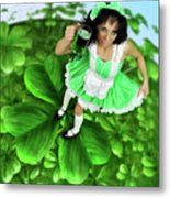 Lovely Irish Girl With A Glass Of Green Beer Metal Print