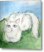 Lovely Kitty. White Cat Kusyaka Metal Print