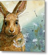 Lovely Rabbits - With Dandelions Metal Print