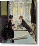 Lovers In A Cafe Metal Print