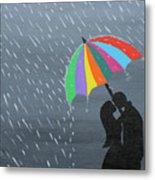 Lovers In The Rain Metal Print