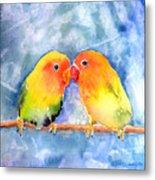 Lovey Dovey Lovebirds Metal Print