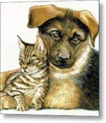 Loving Cat And Dog Metal Print