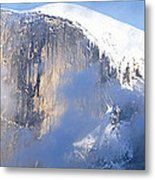 Low Angle View Of A Mountain Covered Metal Print