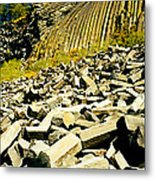 Low Angle View Of Devils Post Pile Metal Print