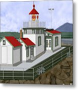 Low Tide at West Point Lighthouse in Seattle Metal Print