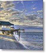 Low Tide Sunrise Tybee Island Metal Print