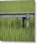 Lowcountry Dock Over Marsh Grass Metal Print