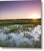 Lowcountry Flood Tide Sunset Metal Print